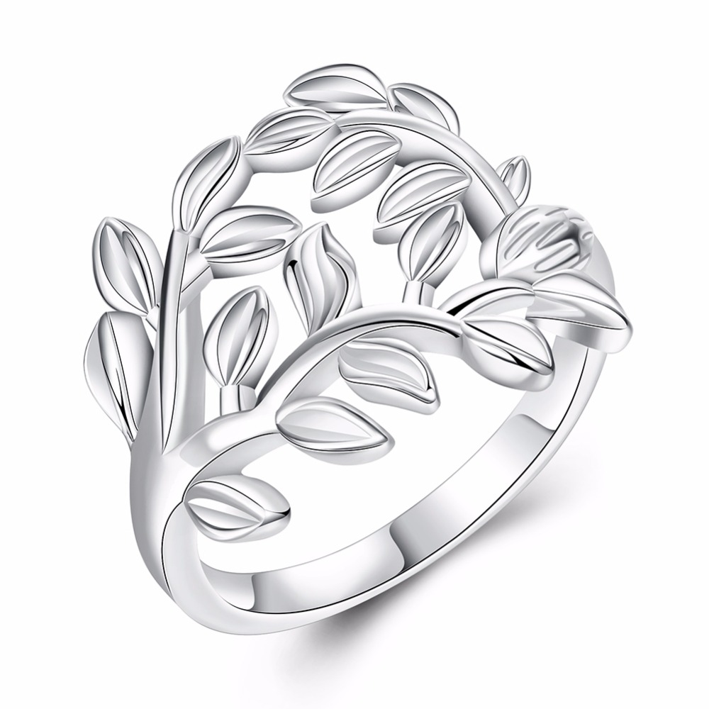 Exquisite 925 Silver Rings Creative Hollow Leaves Modeling Party Women Jewelry Jewelry J ...