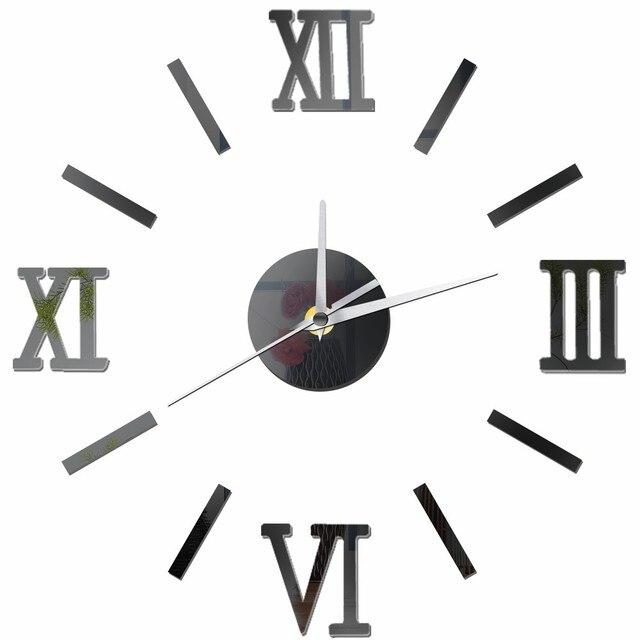 Vintage Modern Design Large Wall Clock Diy Retro Black Silver Red Gold Quartz Decorative
