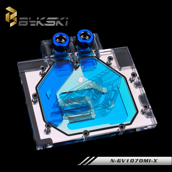 BYKSKI Full Cover Graphics Card Water Cooling GPU Block use for GIGABYTE GTX1070 IXOC/Mini ITX OC 8G N-GV1070MI-X with RGB Light 2pcs lot video cards cooler gtx 1080 1070 1060 fan for msi gtx1080 gtx1070 armor 8g oc gtx1060 graphics card gpu cooling