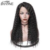 Ханне волосы Малайзии афро кудрявый парик черный Волосы remy предварительно сорвал отбеленные узлы Синтетические волосы на кружеве человече