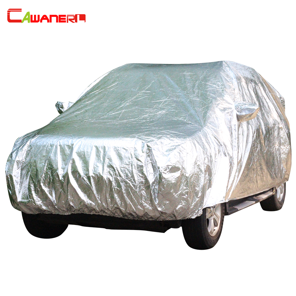 Cawanerl 3 Layer Car Cover Outdoor Sun Ice Screen Rain Snow Dust Resistant Hail Protection Waterproof