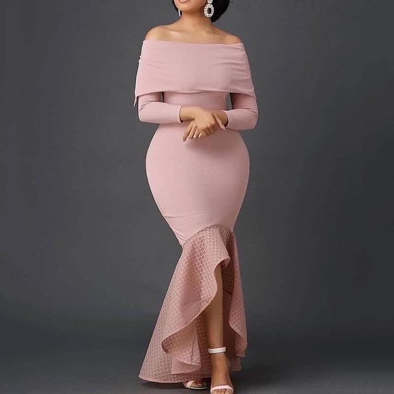 Nine Points Sleeve Asymmetric Off Shoulder High Waist Dress Female Plain Evening Party Dinner 2019 Winter Trumpet maxi Dresses