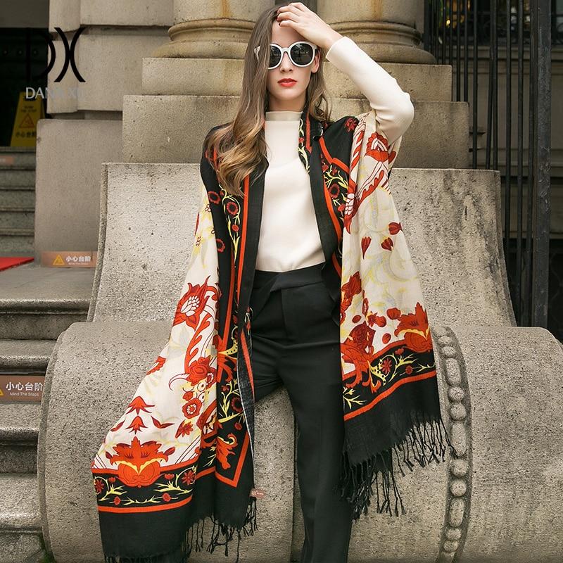 الفاخرة منقوشة الكشمير الشتاء المرأة المعطف وشاح الإناث المتضخم بطانية التفاف الصوف كيب المرأة الباشمينا شالات و الأوشحة