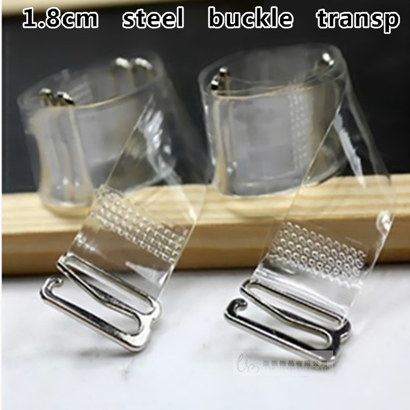 2 Pair 1.8cm Metal Bra Straps Stainless Steel Women's Transparent Silicone Bra Straps Baldric Adjustable Accessorie 1 Pair