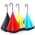 Camada dupla Reversa Guarda-chuva Aberto/Fechar No Estreito Espaço Gráfico Criativo Carro Guarda-chuva À Prova de Vento