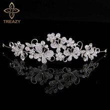 TREAZY Butterfly Flower Bridal Crystal Handband Silver Color Wedding Hair Jewelry Accessories Pageant Hairbands Bride Tiaras