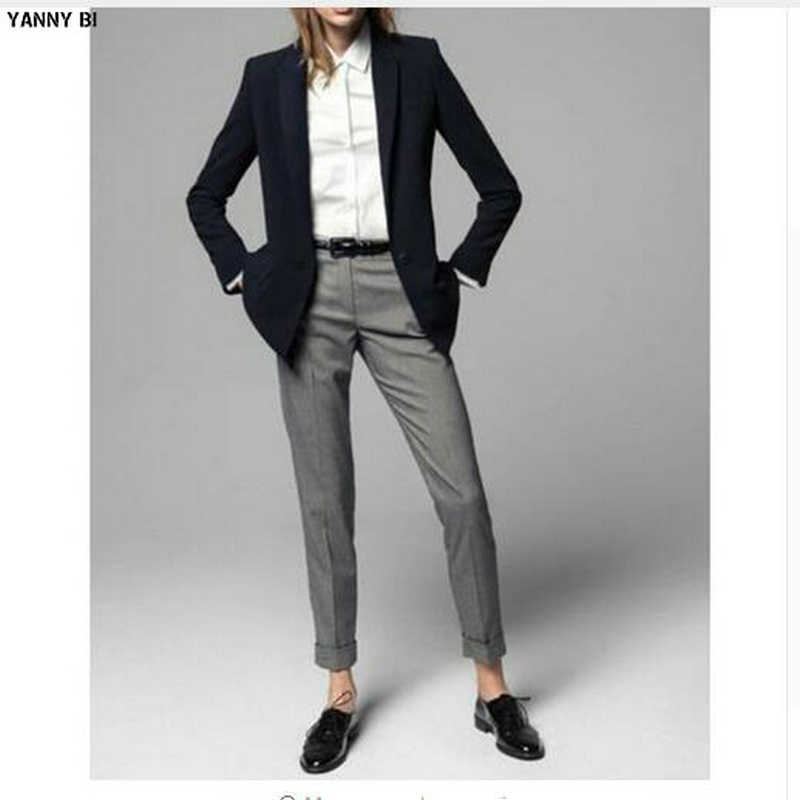 Custom made Limited Promotion Full 2 Piece Jacket+pants Women Ladies Business Office Tuxedos Work Pant Suits (Coat+Pants)
