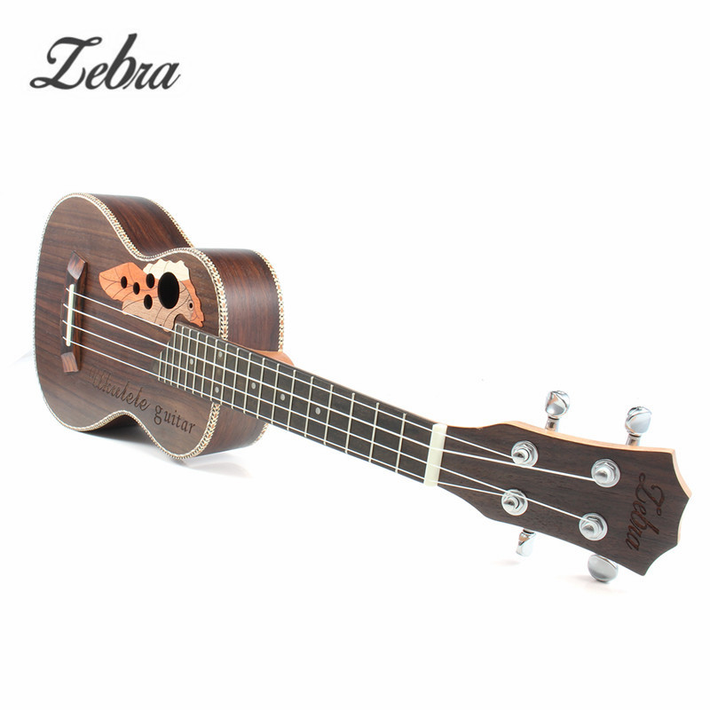 Zebra 23'' Acoustic Rosewood Concert Ukulele Uke 4 Strings Electric Bass Guitar Guitarra for Musical Stringed Instruments Lovers tenor concert acoustic electric ukulele 23 26 inch travel guitar 4 strings guitarra wood mahogany plug in music instrument