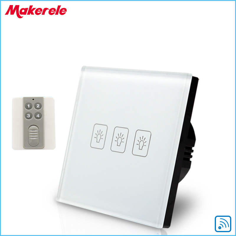 ФОТО Remote Touch Switch EU Standard 3 Gang1 way Remote Control Light Switch with Remote control