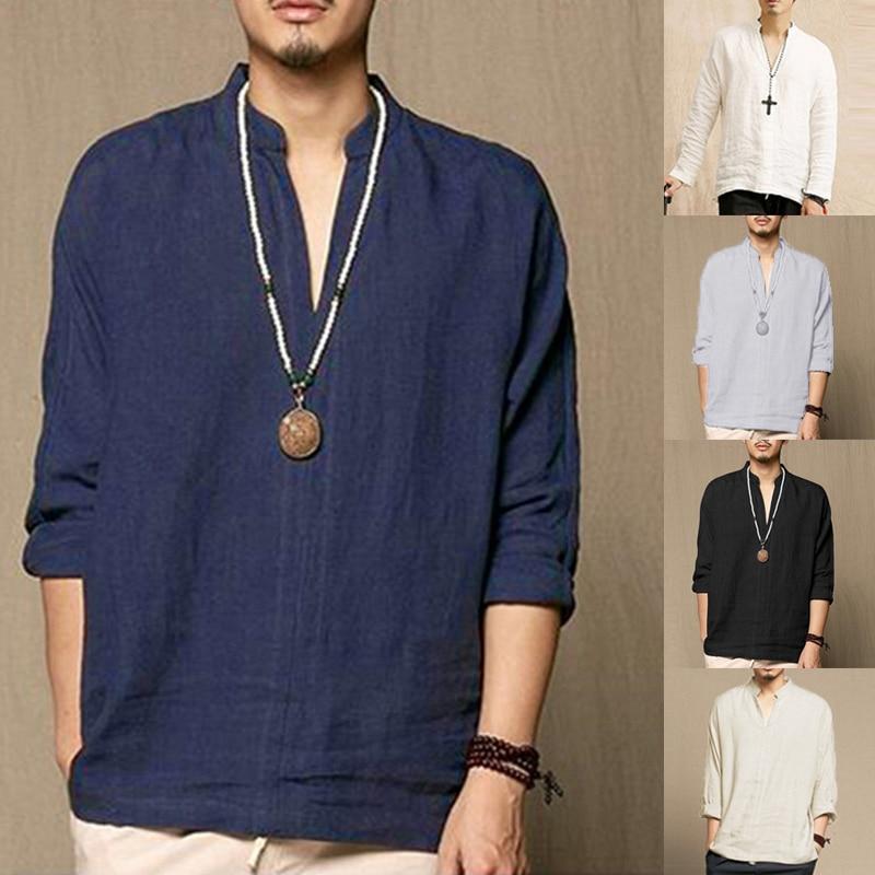 Casual Shirts Cotton Linen Men Shirt Long Sleeve Spring