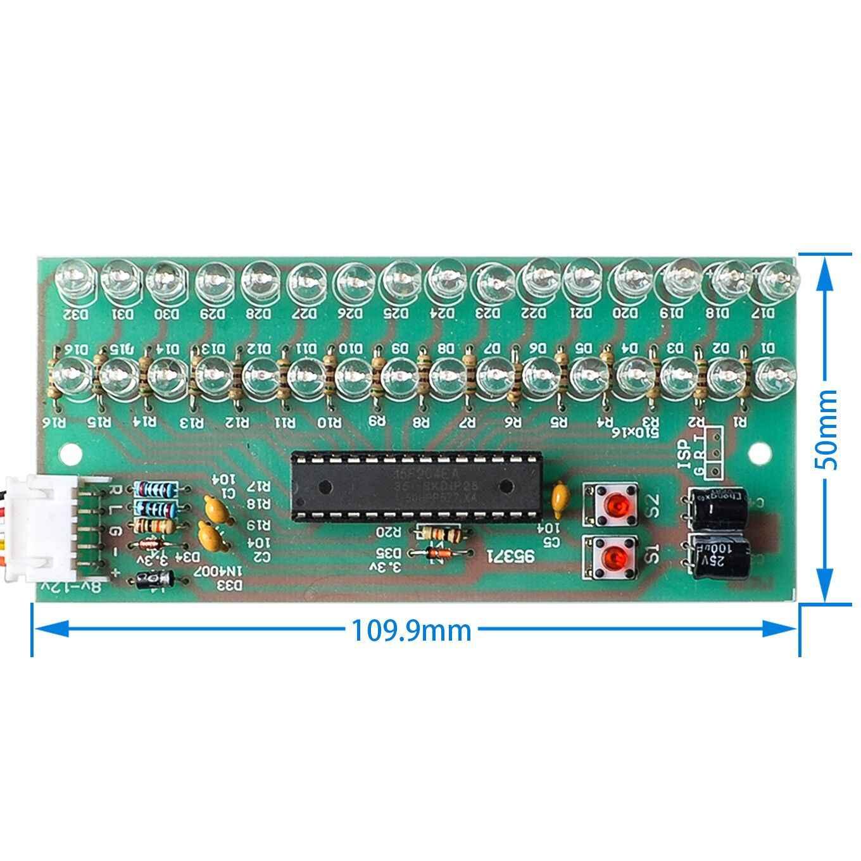 MCU ปรับรูปแบบการแสดงผล LED VU Meter ตัวบ่งชี้ระดับเครื่องขยายเสียง 16 LED Dual Channel สีเขียวโคมไฟ DC 8V to 12V