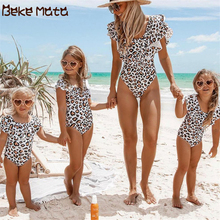 Mommy And Me Swimsuit Mom Daughter Swimwear 2019 Ruffle Leopard Family Look Mother Bikini Matching Clothes