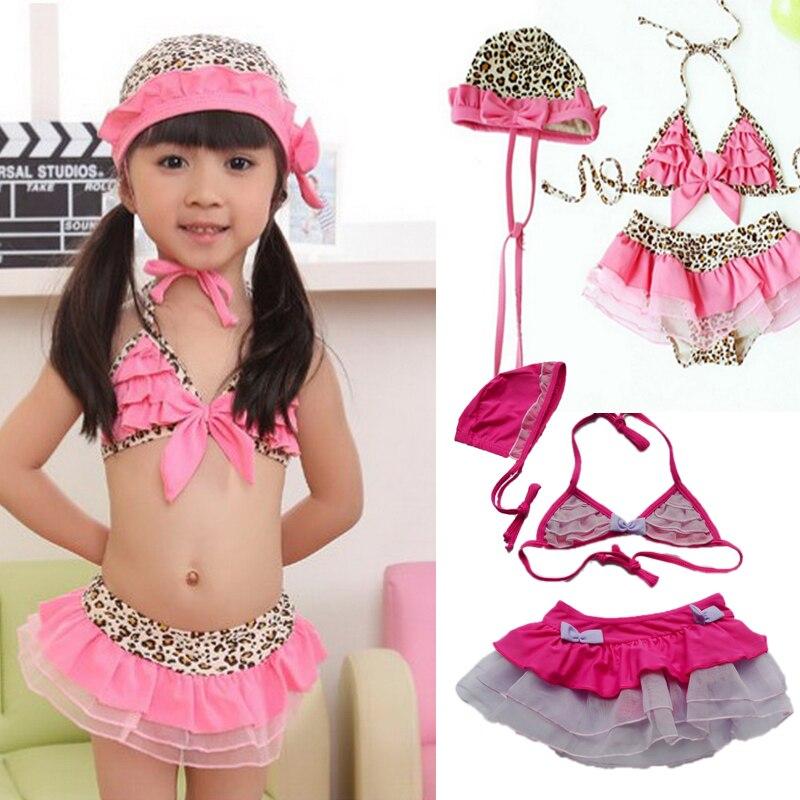 2017 New Summer Girls Kids Pink/Leopard Bow Lovely Swimwear Tankini Swimsuit Bikini S2-8Y Surfing Bathing Pool диван пижон принцесса pink leopard 136142
