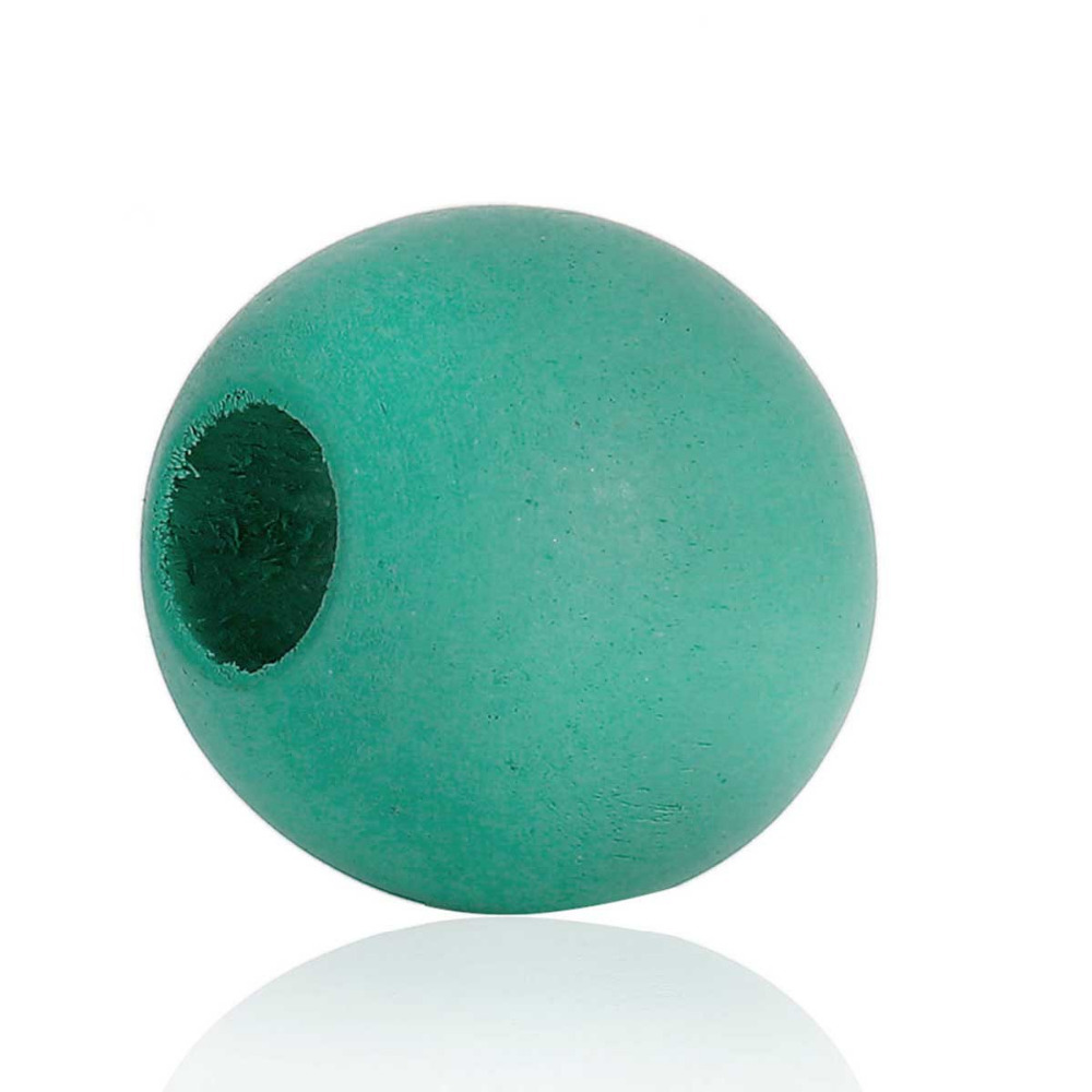 DoreenBeads Green Blue Round Color Hinoki Wood Spacer Beads DIY Components About 25mm(1) Dia, Hole: Approx 10mm - 9mm, 20 PCs