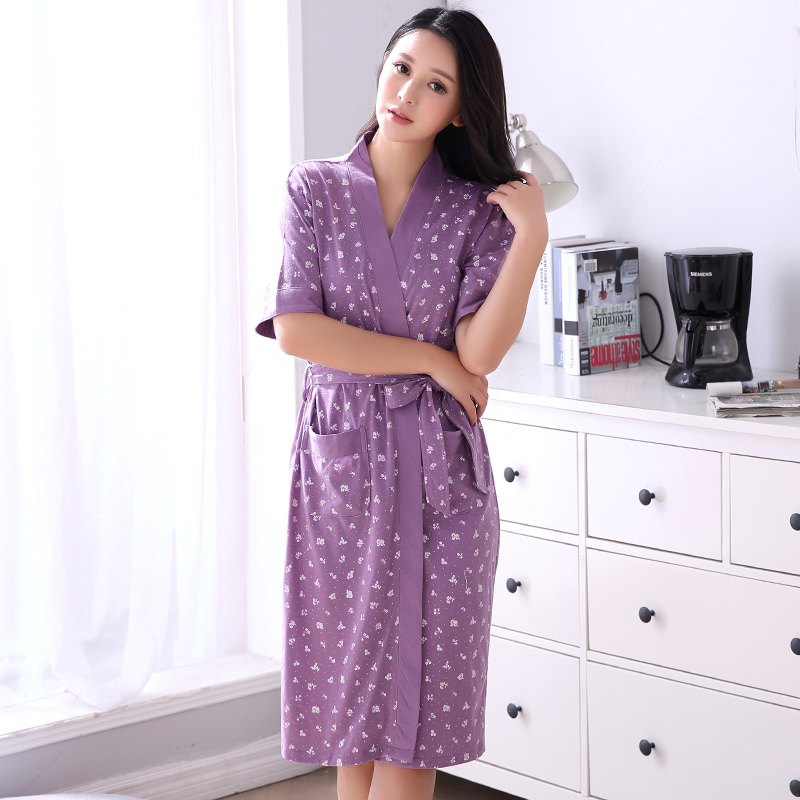 Robe Women's Summer Shorts Bathrobe Plus Size Spa Robe Belt Women Kimono Floral Cotton Peignoir Femme Home Wear Coton Nightgowns