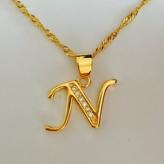 Luxury Brand Letter N Gold Color Necklace Women Men Name Charm Pendant Necklace Crystal Fashion