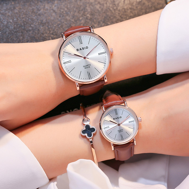 2017 BASID brand Couple Watches for Lovers Pair Quartz Wrist Watch Fashion Waterproof Men Women Wristwatches Student Gift