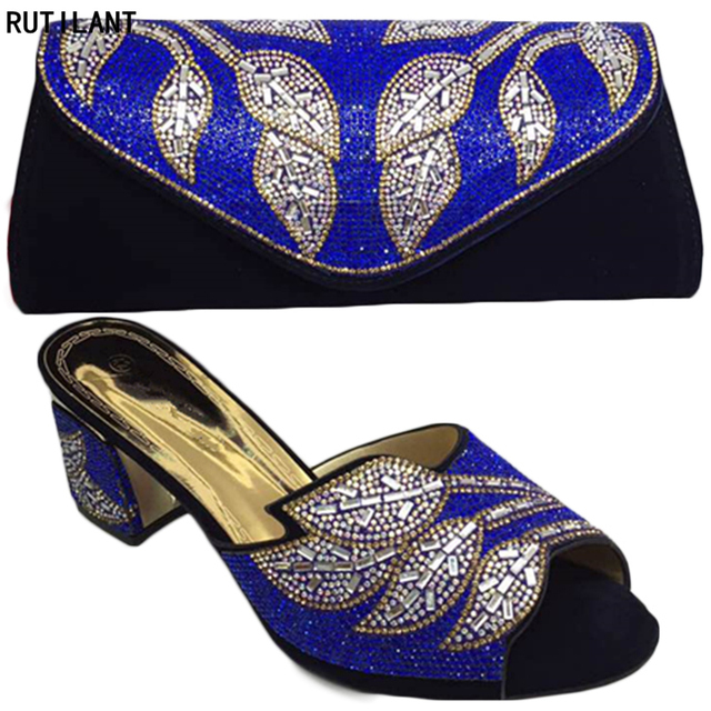 Latest Black Color Italian Ladies Shoes and Bags To Match Set Decorated with Rhinestone Shoe and Matching Bag for Nigeria Party