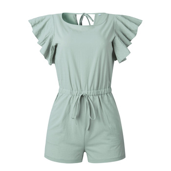 Nadafair Summer Playsuits Women Jumpsuit Short Cotton Linen Casual Ruffles Elastic Waist Sexy Rompers Overalls Mono Mujer 2
