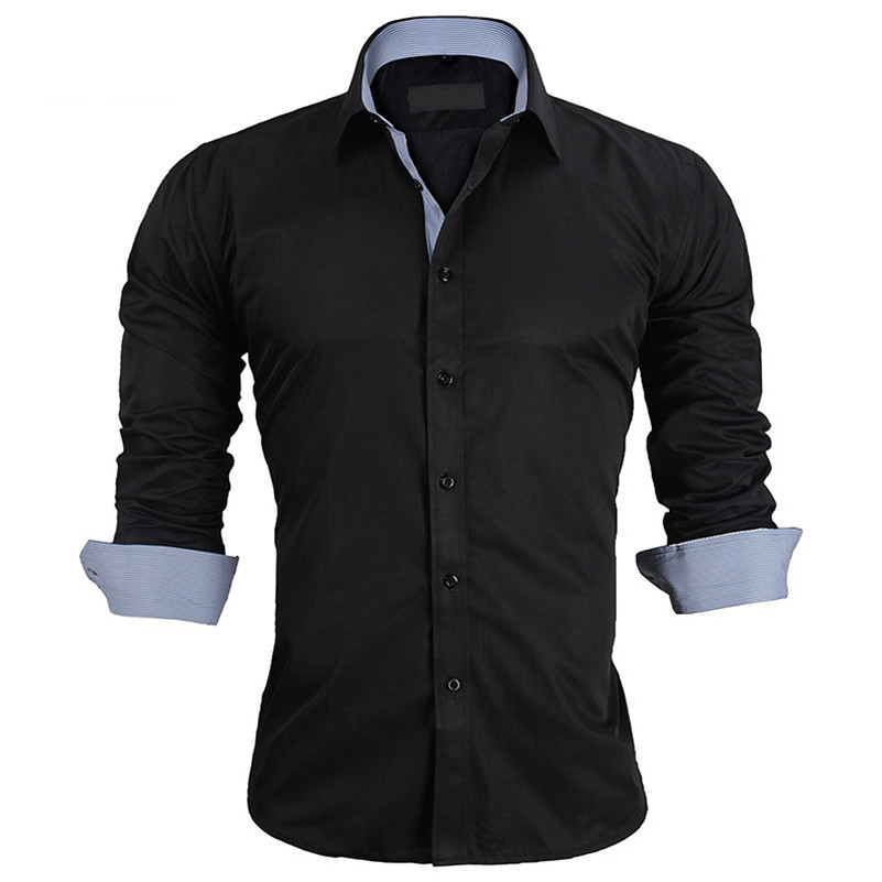 UNIVOS KUNI Neue Ankünfte Business Casual Splice männer Shirts Einfarbig Dünne Lange Hemd Hohe Qualität männer shirts H187