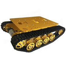 Metal Robot Tank Chassis Golde yellow for Caterpillar Suspension SINONING TS100 New Design for arduino SN2500 Diy Tracked cheap robot tank chassis platform diy chassis smart track huanqi for arduino sinoning sn700