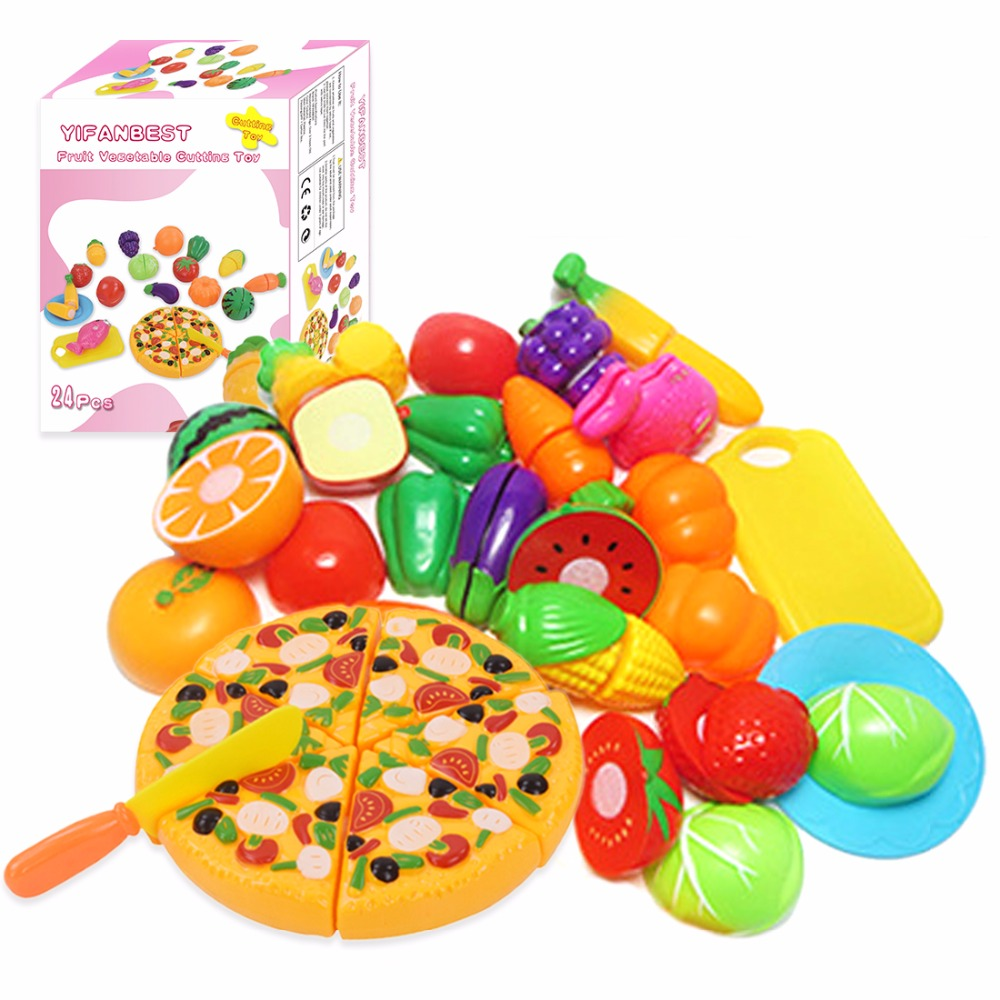Surwish 24 Pcs/ Set Plastic Fruit Vegetable Kitchen Cutting Toys Early Development and Education Toy for Baby Kids Children 34pcs children s kitchen toys cutting fruit vegetable plastic drink food kit kat pretend play early education toy for kids
