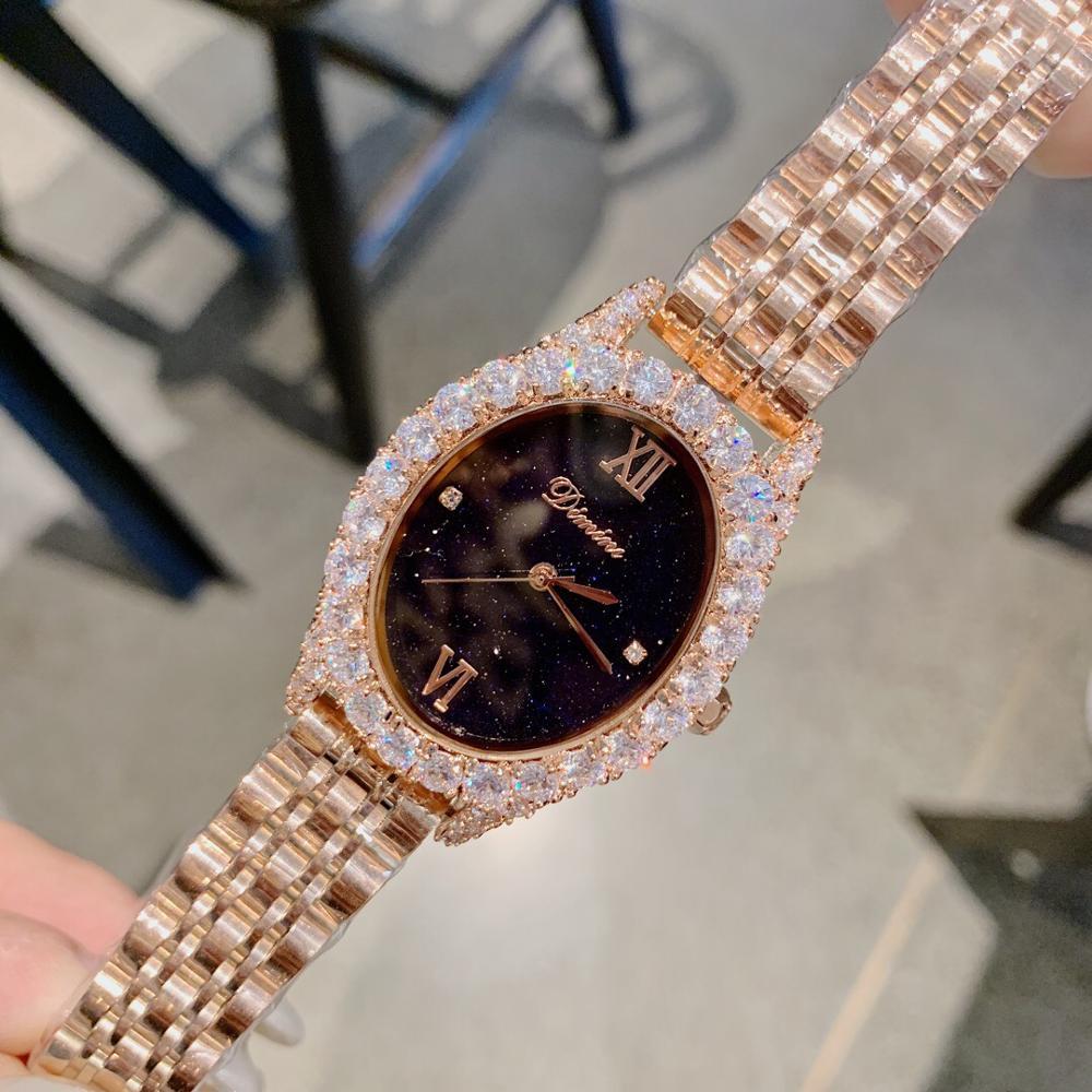 Simple Luxury Women Rhinestones Watches Full Steel Bracelet Wrist watch Vintage Oval Jewelry Watch Business Summer Dress Clocks