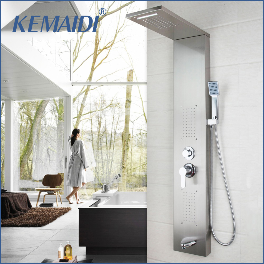 New Arrival Wall Mounted Bathroom Faucet Tap Rainfall Shower Panel Rain Massage System Faucet with Jets Hand Shower Brushed  ouboni new arrival bathroom rainfall shower panel rain massage system faucet with jets hand shower bathroom faucet tap mixer