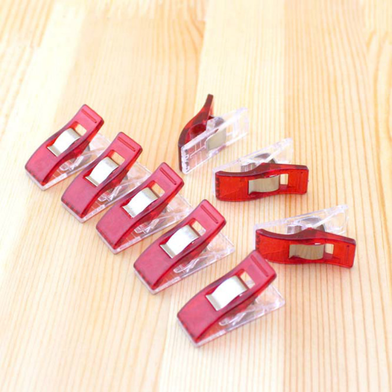 50pcs/set  Creative Red PVC Plastic Clips For Patchwork Sewing DIY Crafts, Quilt Quilting Clip Clover Wonder Clip 2.7*1CM