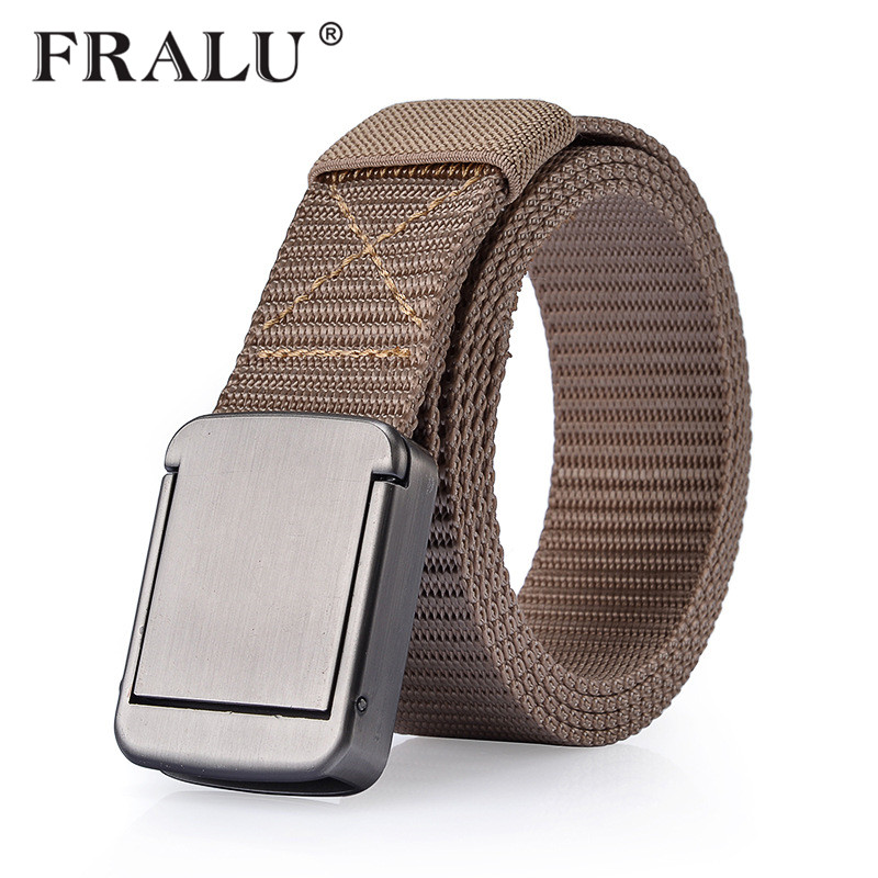 FRALU 2018 Military Equipment Tactical Belt Men Women Metal Buckle Thicken Canvas Belts for Men Waistband YD312