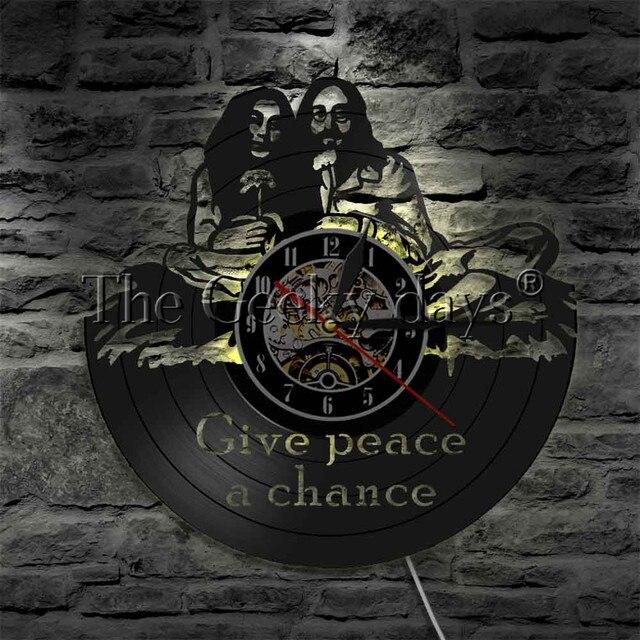 1 pièce Hippie citation vinyle horloge murale donner la paix une Chance horloge Hippie monogrammé vinyle disque mur Art créatif garde-temps
