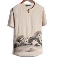 Chinese House Style Print Loose Leisure T Shirt For Mens Plus Size Short Sleeve Summer T
