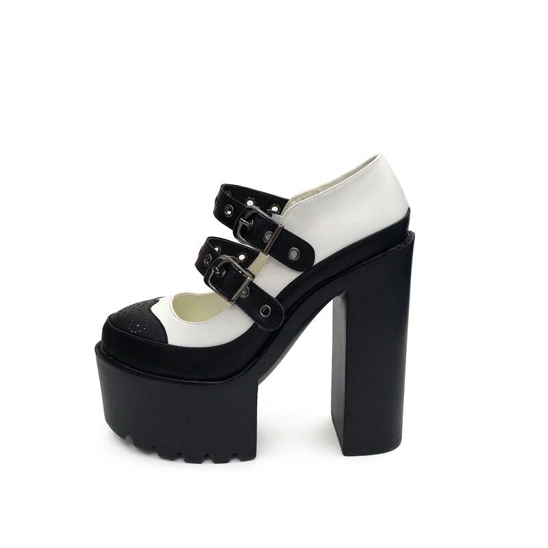 Botas Chaussures Printemps Femininas Dames Martin Pu Haute De Mode Épais Noir blanc Boucle Talon 2018 Bottes Cheville En Cuir Talons bvYf6g7y