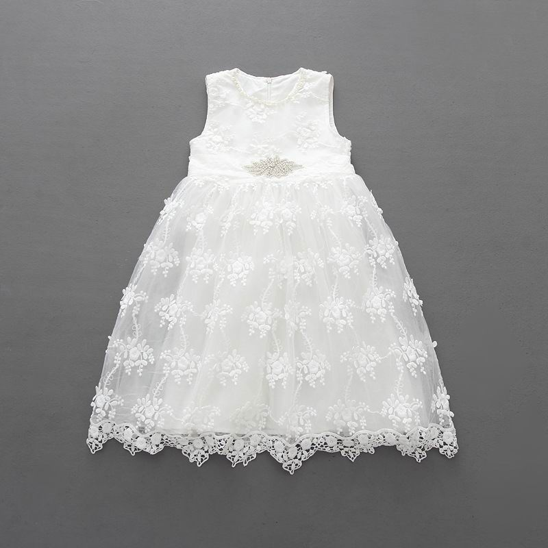 2017 Summer New Girl Princess Dress Pearl Neck Lace Hollow Party Sundress Rhinestone Belt Children Clothing