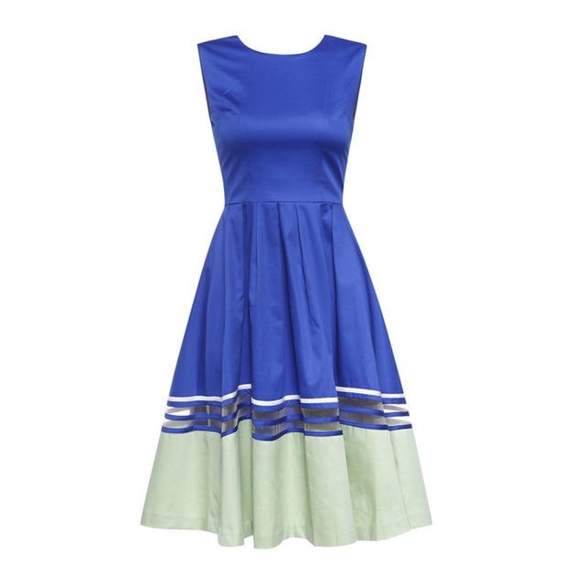 European Boutique Vestido Womens Spilcing Fit-and-Flare Slim Elegant Cocktail Party Dress