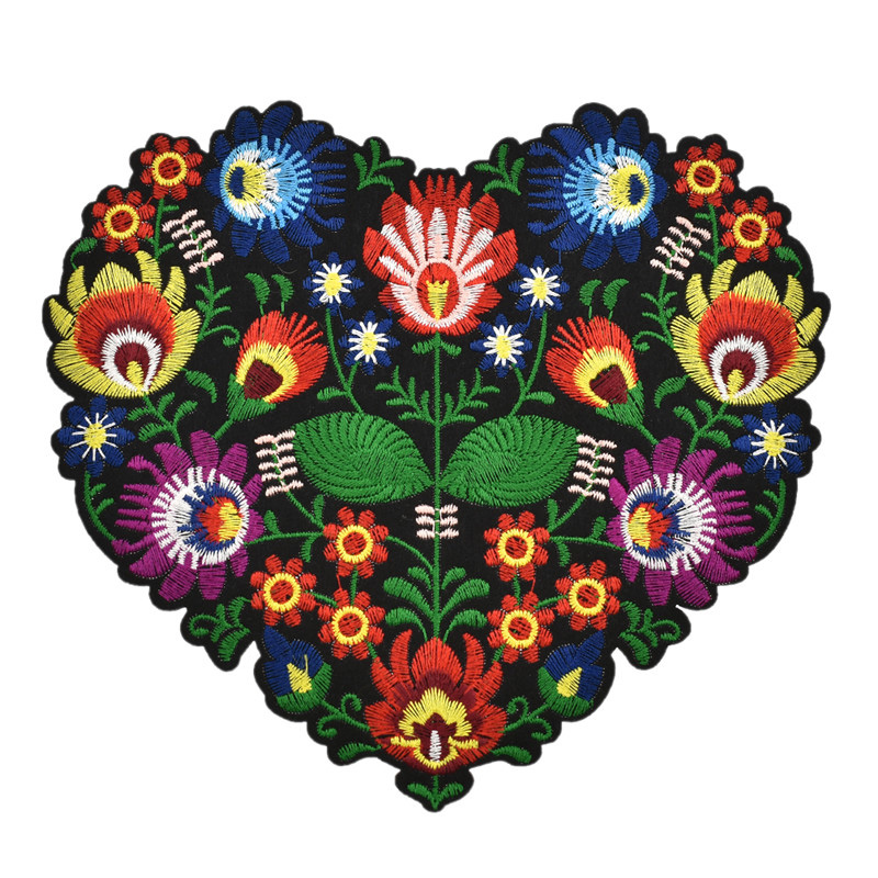 8bcc97bc28 US $2.89 1Pcs Heart Shape Flower Embroidery Applique Patches for ...