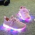 Hot 2016 new outono respirável crianças sneakers crianças malha ar do diodo emissor de luz colorida piscando meninos sports shoes para meninas size21 ~ 35