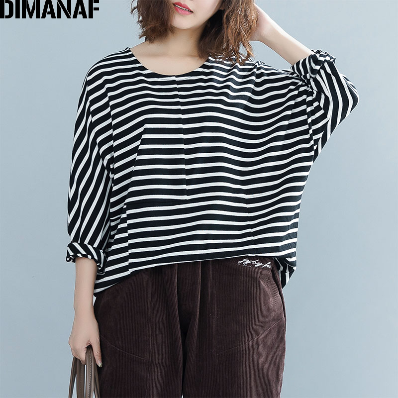DIMANAF Women's T Shirts Plus Size Female Clothes Ladies Basic Tops Tees Cotton Print Striped tshirt Autumn Loose Batwing 2018