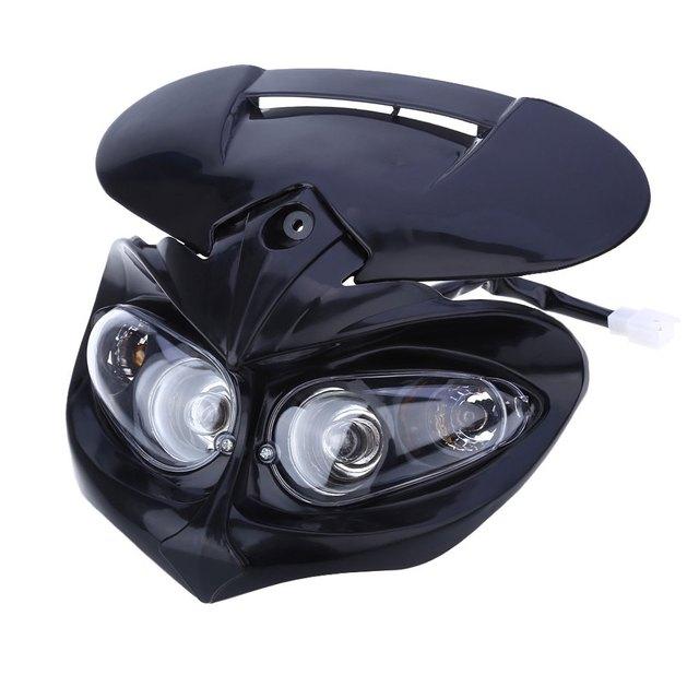 Nova motocicleta head lamp high low feixe duplo farol carenagem para f-águia apollo dc 12 v 18 w aplicável para universal motos