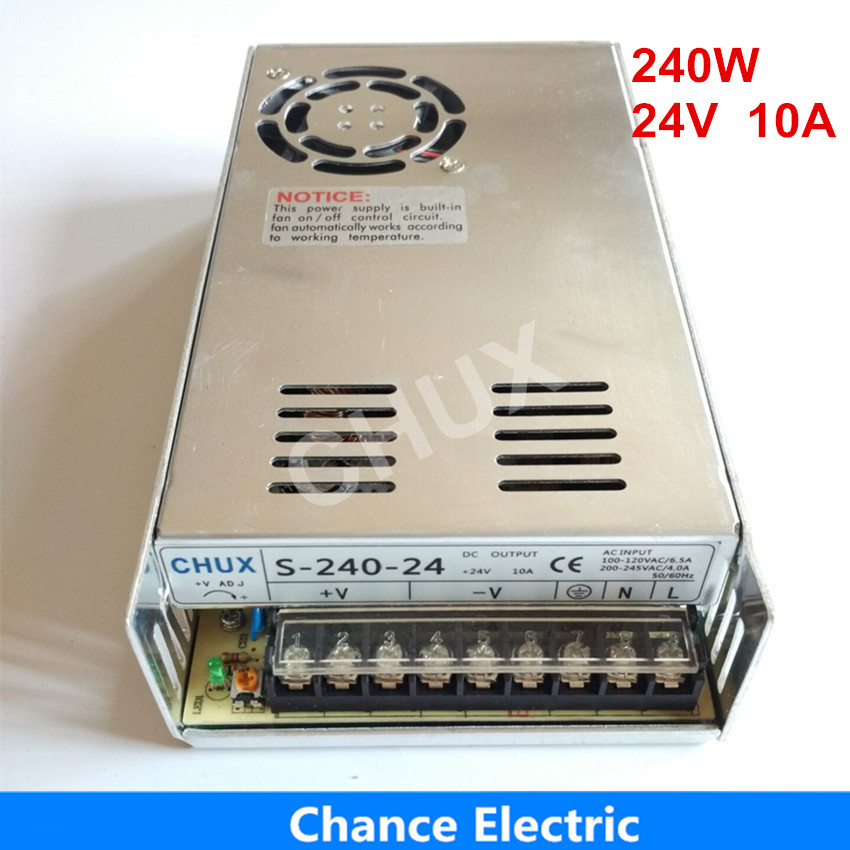 24 volt power supply for LED Strip free shipping 110V 220V AC to 24V DC 10A 240W single output 24v Switching Power Supply allishop 300w 48v 6 25a single output ac 110v 220v to dc 48v switching power supply unit for led strip light free shipping