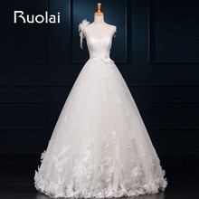 Real Sample Gorgeous V-Neck A-Line Flower Lace Crystal Beaded Tulle Wedding Dresses 2017 Long Bridal Gown for Wedding Party FW54