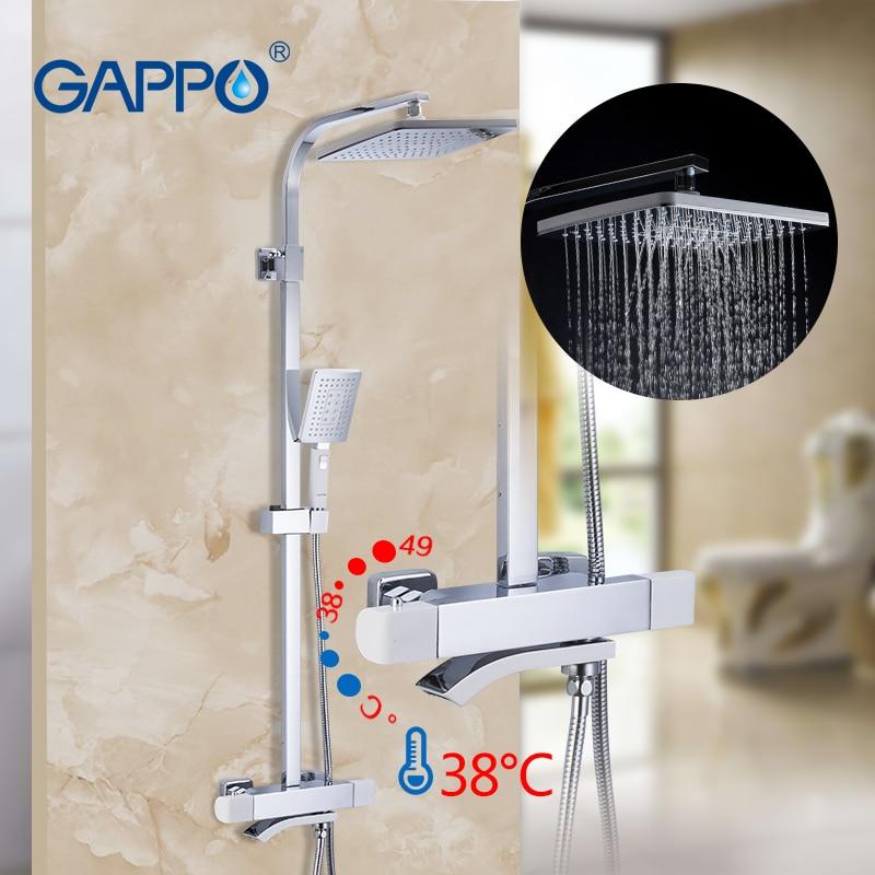 GAPPO ensemble de robinet de douche thermostique de pluie de salle de bains blanc et chrome mélangeur de couleur ensembles de douche de bain fixés au mur