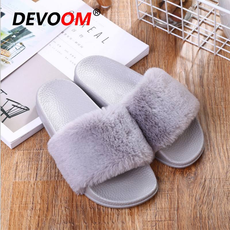 New 2018 Fur Sliders Indoor Slippers Women Fur Flip Flops Summer Fashion Home Slippers Fluffy Slippers Casual Female Footwear