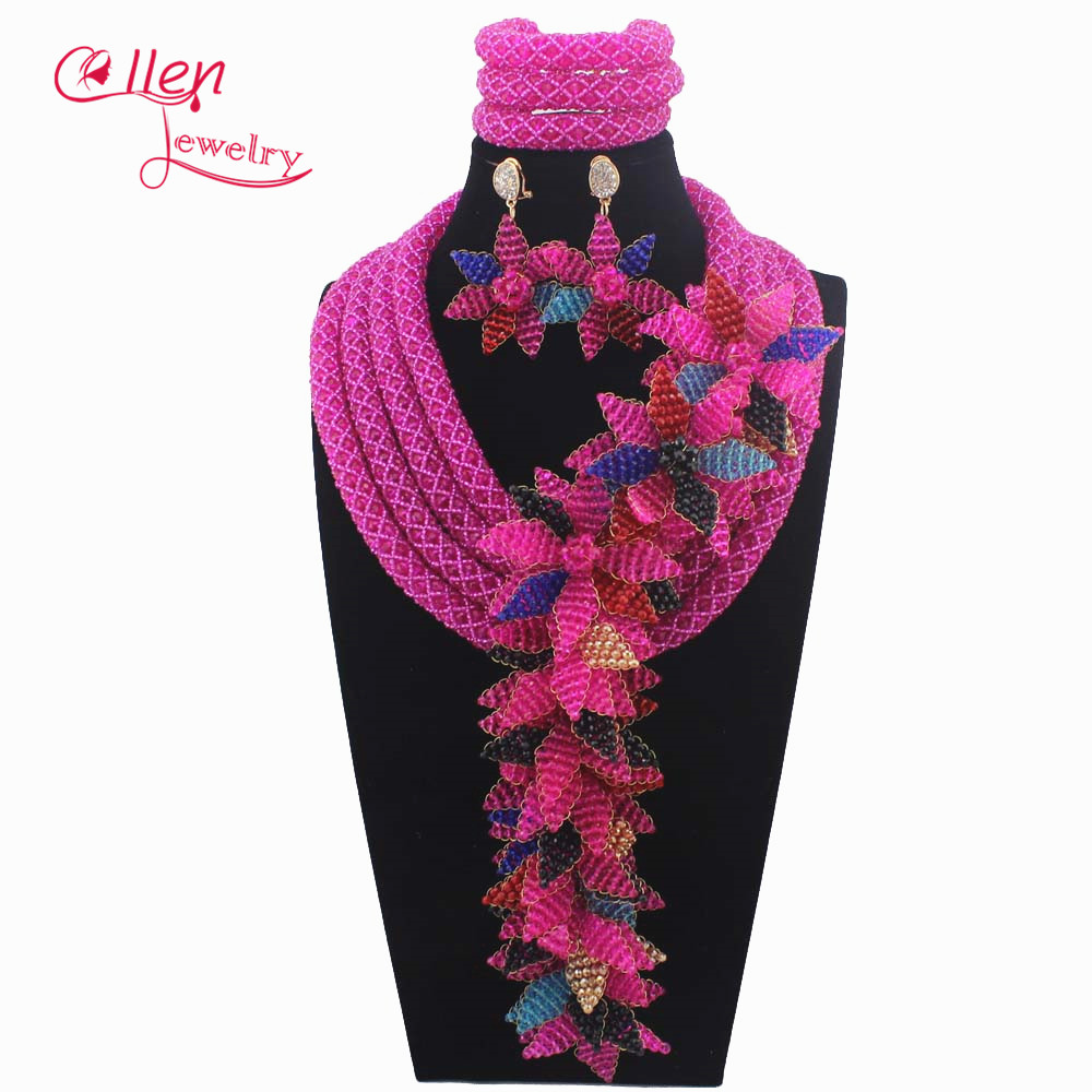 New Luxury African beads jewelry sets india flower beaded nigerian wedding beads bridal necklace dubai jewelry sets W14030
