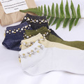2017 spring women's socks high-end pearl beading original design socks for women gift socks 5 colors
