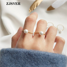ZJSVER 925 Sterling Silver Ring 4 Sizes Golden Korean Classic Simple Small Pearl Women Ring For Festival Or Party Present zjsver 925 sterling silver jewelry rings classic simple infinity chain glossy adjustable ring for women girls party or festival