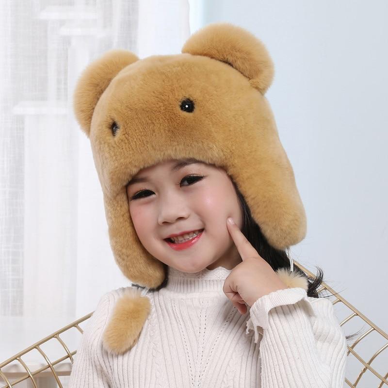 Russia New Boys Girls Real Rex Rabbit Fur Hat Children Warm Winter Fur Hat Caps Bomber Hats