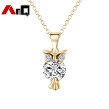 AnQ Hot Sale Personalized Owl Anime Alloy Necklace with AAA CZ Stones Fashion Necklaces for Women Wedding Party Jewelry Gift TD1