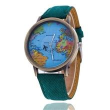 8534a52980f Venda quente moda casual global viagem por avião mapa do mundo das mulheres  dos homens relógios denim relógio de quartzo relogio.