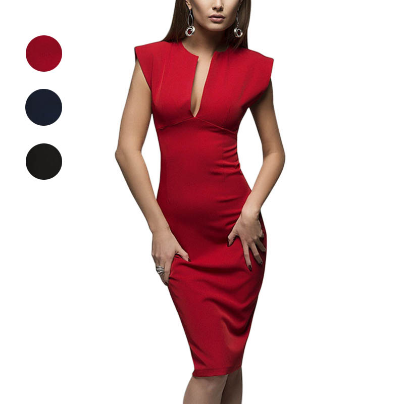 Women Lady Dress Solid Color V Neck Mid Waist Fashion Sexy Clothing For Party H9